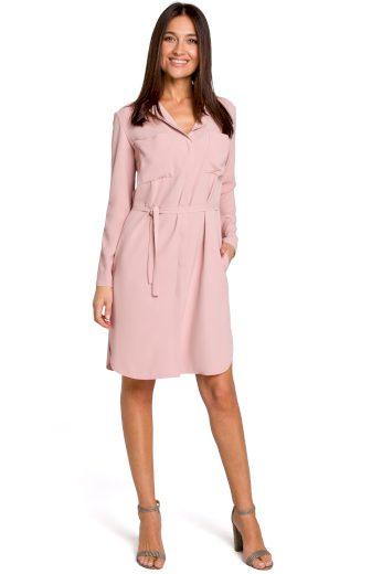 Košilové módní šaty růžové s kapsami a páskem v pase - VEL. M