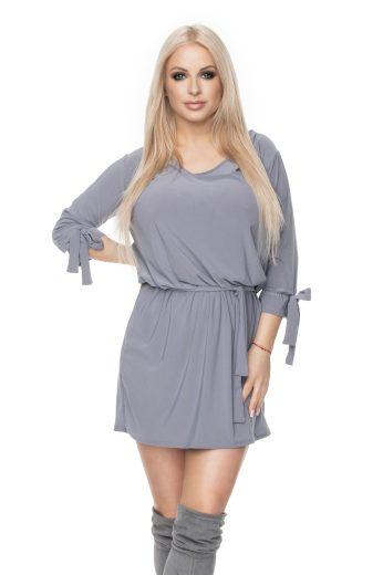 Volné mini šaty s mašlí výstřihem do V a páskem v pase