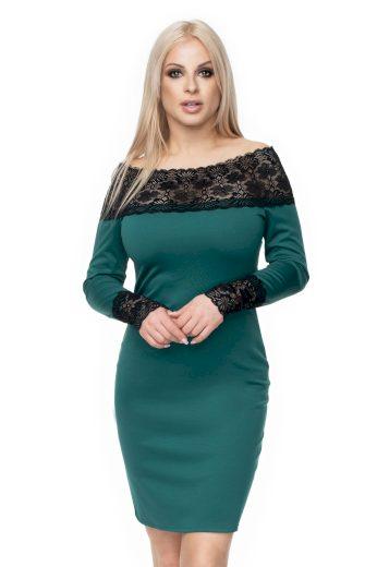 Elegantní šaty pouzdrové s krajkou a dlouhým rukávem