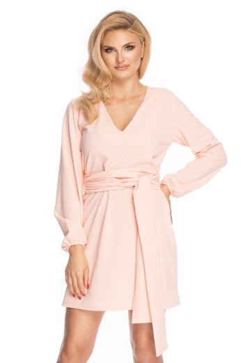 Mini volné šaty s páskem v pase dlouhým rukávem a výstřihem