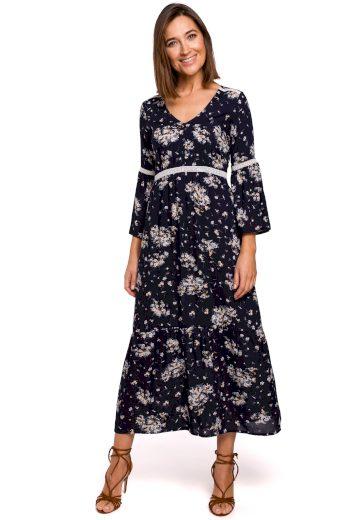 Delší modré šaty s květinovým potiskem a krajkovými pruhy - VEL. S