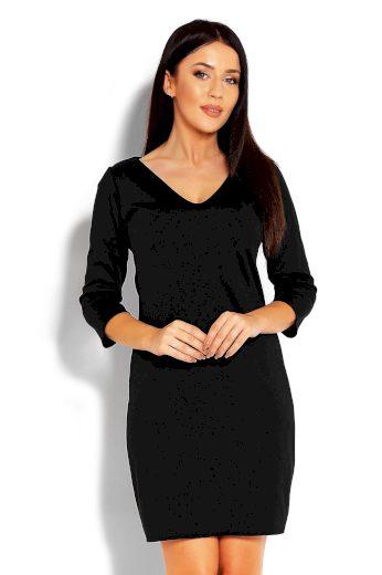 Klasické mini šaty pouzdrové střihu s 34 rukávem a výstřihem