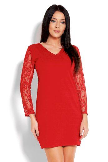 Elegantní mini černé šaty červené s dlouhými krajkovými rukávy