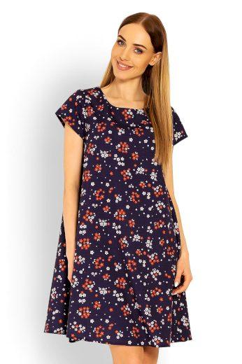 Volné šaty s krátkým rukávem a květinovým potiskem - L/XL