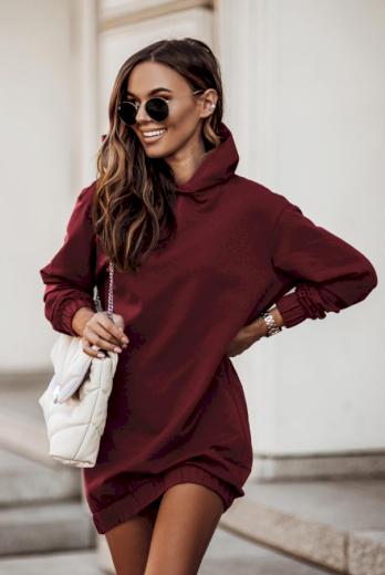 Oversize univerzální mikinové šaty s kapucí a dlouhým rukávem