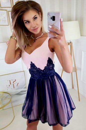 Společenské šaty růžovo modré koktejlové šaty s Krajkou - VEL. S