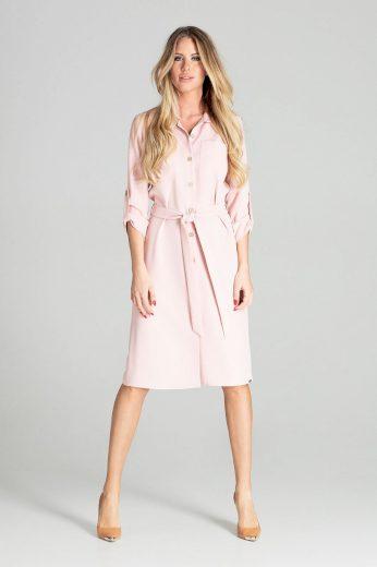 Dámské růžové šaty na knoflíky s 3/4 rukávem a kapsami - VEL. L