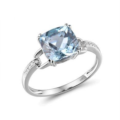 Třpytivý zlatý prsten s diamanty a granátem