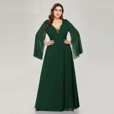 Krajkové plesové šaty nadměrné velikosti šaty se síťovanými rukávy
