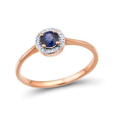 Zásnubní prsten z bílého zlata s třpytivými diamanty a modrým safírem
