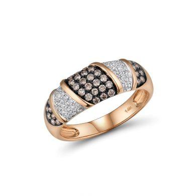 Masivní dámský prsten z růžového zlata s bílými a hnědými diamanty