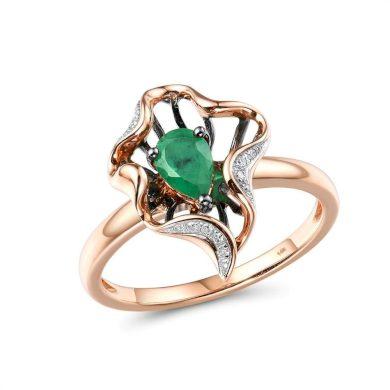 Originalní masivní prsten z růžového zlata se smaragdem