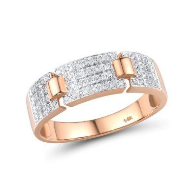 Masivní prsten pro dámy z růžového zlata zdobený diamanty