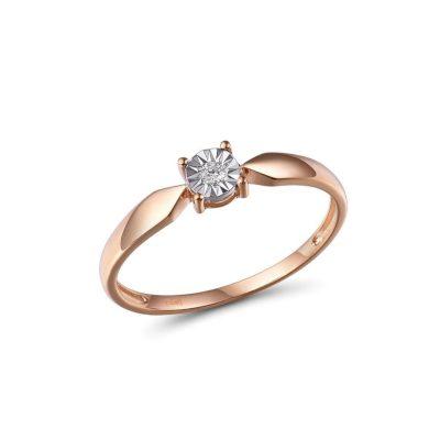 Klasický dámský prsten ze zlata s diamantem