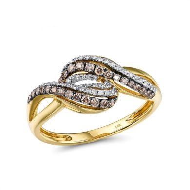 Nádherný zásnubní prsten ze žlutého zlata s propletením