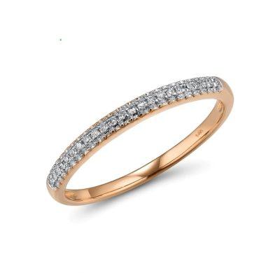 Elegantní prsten z růžového zlata s třpytivými kameny