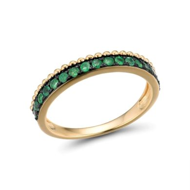 Dámský zlatý prsten zdobený třpytivým zeleným smaragdem