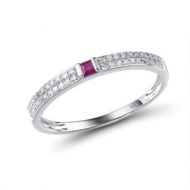 Minimalistický prsten z bílého zlata s diamanty a rubínem