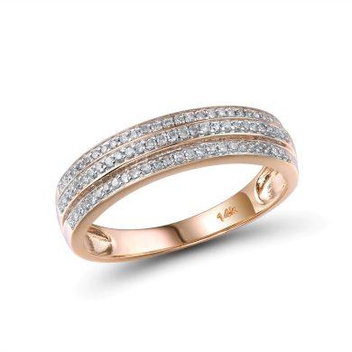 Masivní zlatý prsten snubní pro dámy s nádhernými diamanty