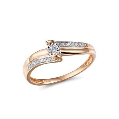 Dvoubarevný zlatý prsten zdobený lesklými diamanty