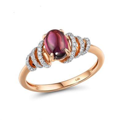 Nádherný masivní zlatý prsten s pravým granátem a diamanty