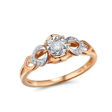 Elegantní dámský prsten z pravého zlata se vzorem květin