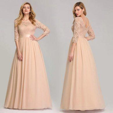 Společenské krajkové šaty dlouhé se širokou sukní a 34 rukávy