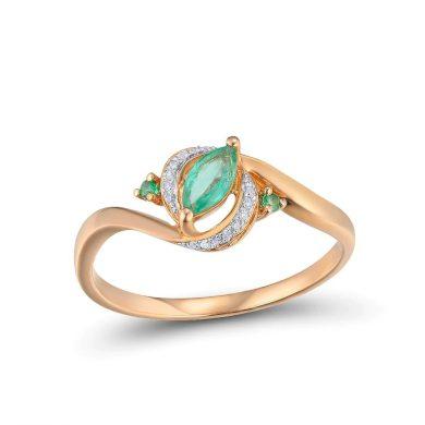 Stylový zlatý prsten originalního tvaru se smaragdem a diamantyv