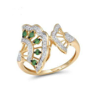 Vyjímečný dámský prsten zdobený smaragdy a diamanty