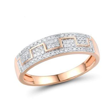 Dámský prsten z růžového zlata s geometrickými vzory a diamanty