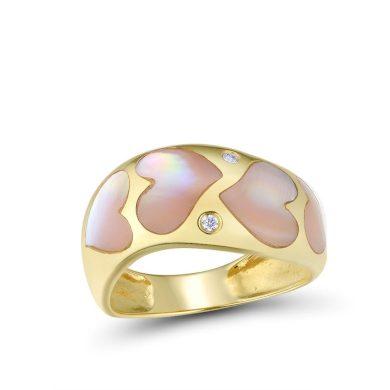 Jemný masivní prsten ze zlata se srdíčkami z růžové perly