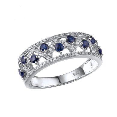 Třpytivý dámský prsten z bílého zlata s geomitrickými vzory