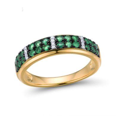 Nádherný prsten ve žlutem zlatě s třpytivými smaragdy a diamanty