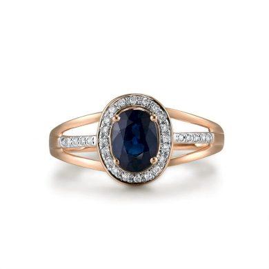 Vintážní zlatý prsten s pruhovanými rameny a masivním safírem