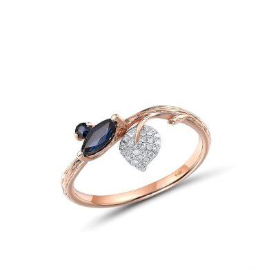 Vyjímečný prsten ve tvaru větví stromu s třpytivým listem