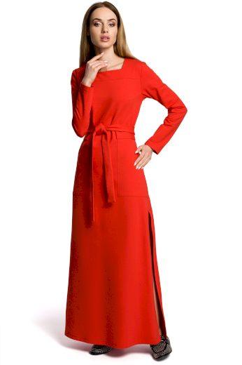 Červené Teplé Šaty pletené se sukní do A s rozparkem - VEL. M