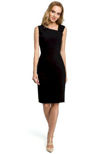 Černé Pouzdrové šaty asymetrické s výstřih do V na zádech - VEL, XL