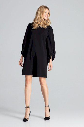 Černé lichoběžníkové šaty midi s dlouhými rukávy s volánem - L/XL