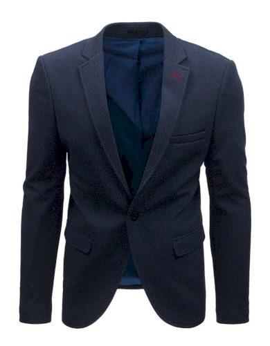 Modré pánské sako elegantní sako společenské na jeden knoflík