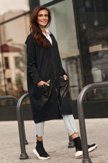 Černá dlouhá mikina s kapucí bavlněný kabátek na zip s kapsami