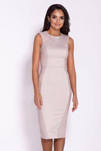 Midi elegantní béžové šaty pod kolena s dlouhým zipem - VEL. S
