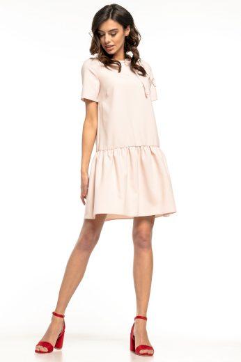 Letní mini pudrové šaty s krátkým rukávem a mašlí u krku - 3XL