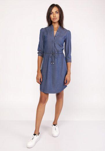 Dámské džinové šaty denim se stojatým límcem a šnůrkou - XL