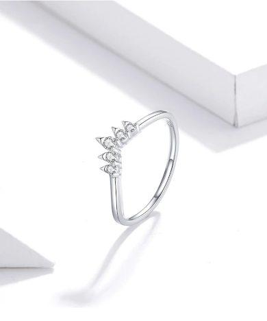 Minimalistický prsten pro dámy se vzorem třpytivé koruny