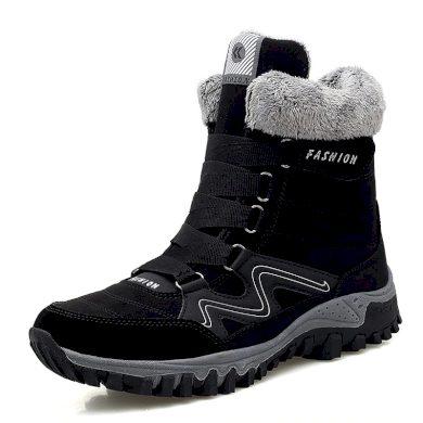 Teplé zimní boty unisex semišové černé barvy s tkaničkami