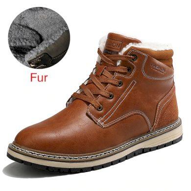 Pánské stylové zimní boty hnědé barvy se zateplením