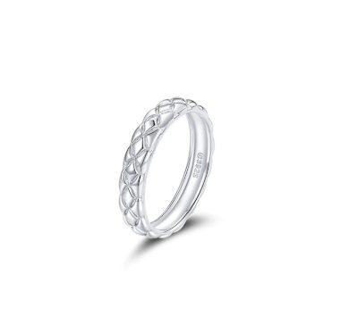 Vzorovaný minimalistický prsten ze stříbra na každý den