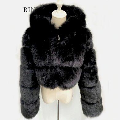 Crop top krátký kožíšek s kapucí chlupatá kožešinová bundička