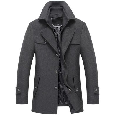 Pánský vlněný kabát s kapsami a odnímatelným rolákem