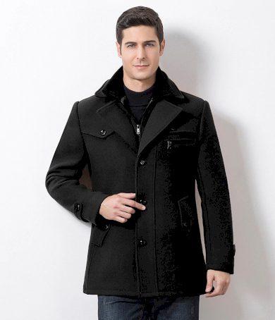 Pánský vlněný kabát s kapsami a odnímatelnou vestou